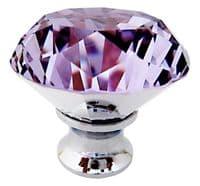 OVO® TEZ® Dali 40mm Purple Diamond Cut Crystal Knob Handle - Silver Glazed